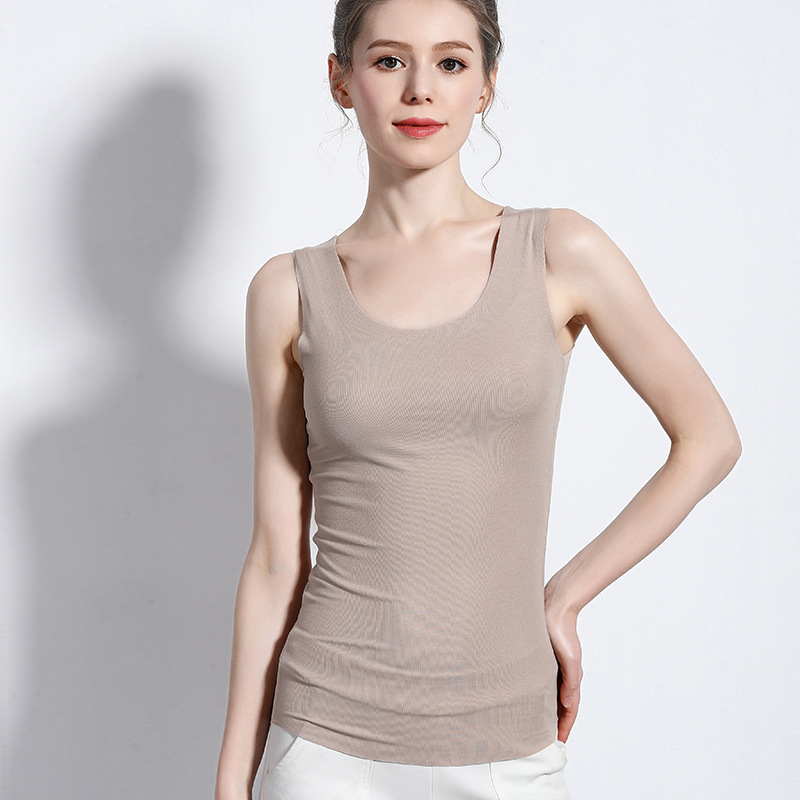 New Underwear Women Shirts Women 39 S Solid Color Knitted Vest O Neck Vest Home Leisure Outdoor Sports Fitness Women Clothes in Camis from Women 39 s Clothing