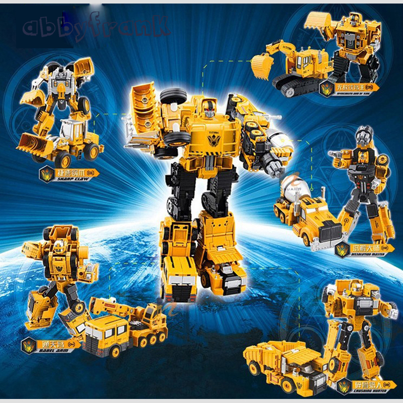Alloy Engineering Transformation Robot Car Deformation Toy 5 in 1 Metal Alloy Construction Vehicle Truck Assembly Robot Kid Toys