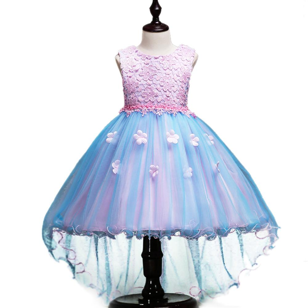 Formal Children Princess Dress for Wedding Party 2018 New Summer Sleeveless Kids Dresses Flower Bow High Quality Girls Clothes стоимость