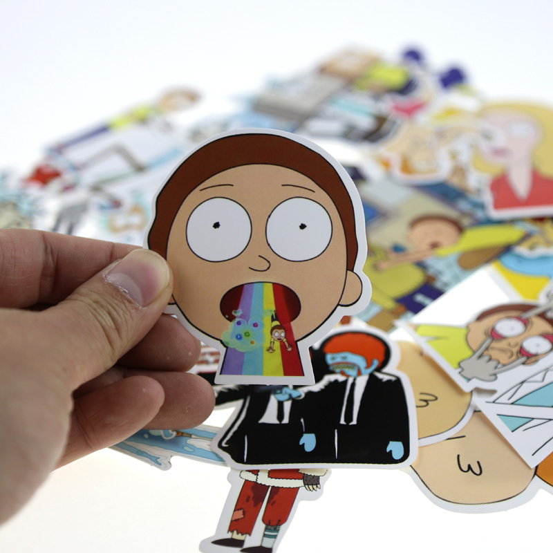 35PCS Western Animation Drama Rick and Morty Funny Sticker Decal Car laptop Sticker Bicycle Motorcycle Notebook Tables Stickers