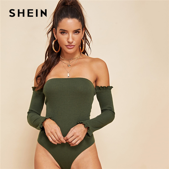93e4aaae45 SHEIN Army Green Casual Solid Backless Ruffle Detail Off the Shoulder  Ribbed Knit Skinny Bodysuit Autumn