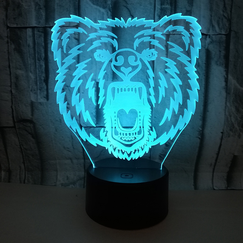 Cute Bear Face Night Light 7 Color Changing Animal LED Night Lights 3D LED Desk Table Lamp For Kid Bedroom Home Decoration