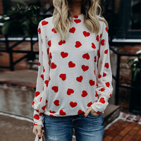 DeRuiLaDy Valentine S Day Heart Shaped Print Women T Shirt Loose Tops Long Sleeves Casual Spring