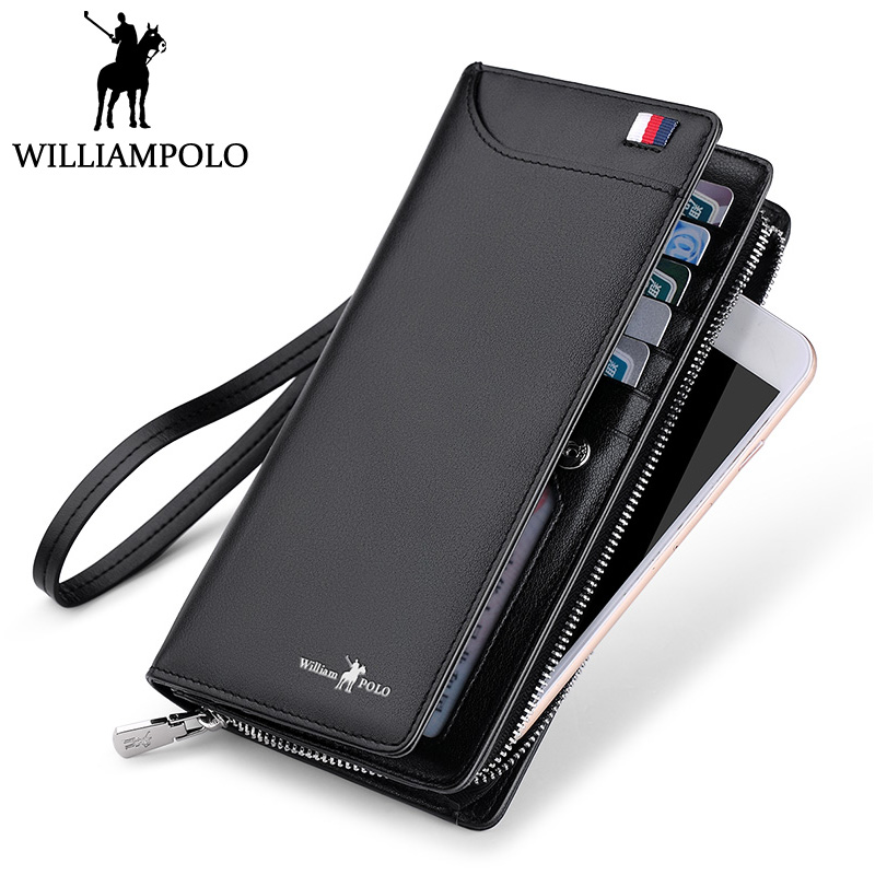 WILLIAMPOLO New Men's Clutch Wallet Genuine Leather Men Wallet Business Fashion Long Purse