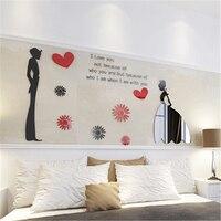 Tanie Nowoczesne DIY Home decor naklejki ścienne Love Przysięga Akrylowe kryształ stereo 3D naklejki salonie sofa TV tle ściany art