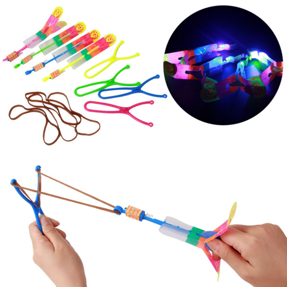 Large LED Light Slingshot Elastic Arrow Rocket Helicopter Flying Toy Party Fun Gift Color Random