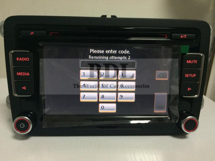 DHL Free shipping Head Unit 6-CD Player Car Radio Stereo RCD510 With Code USB RVC For VW Golf 5 6 Jetta MK5 MK6 Passat B6 B7