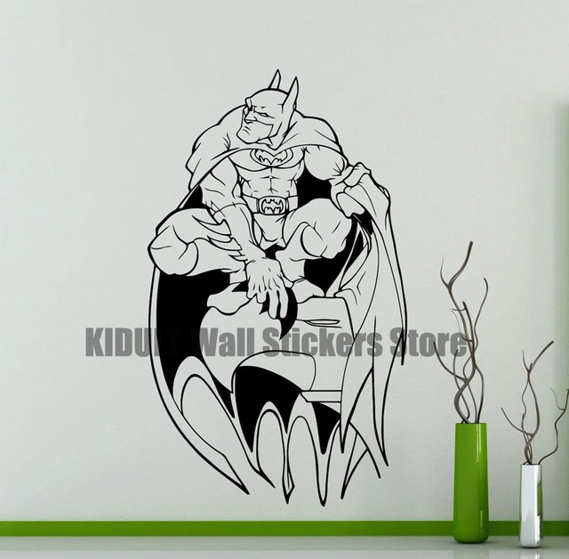Batman Marvel Comics Superhero Wall Stickers Vinyl Sticker Home Interior Childrenu0027s Room Study Decorative Wall Decals  sc 1 st  AliExpress.com & Batman Marvel Comics Superhero Wall Stickers Vinyl Sticker Home ...