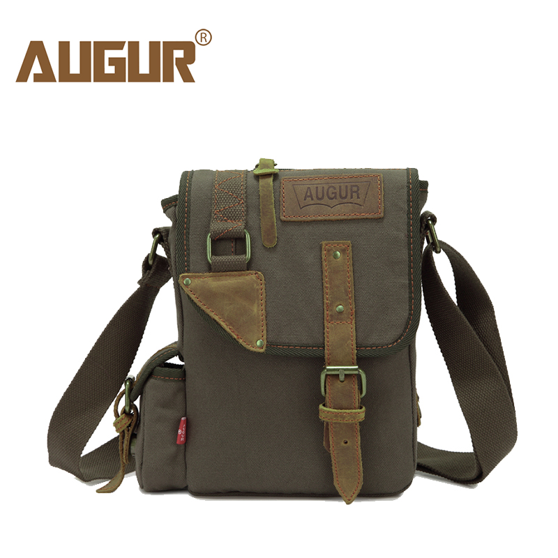 AUGUR Brand Vintage Military Men Messenger Bag Multifunction Canvas Single Mini Shoulder Bags  Small Flap Male Crossbody Bag augur 2017 canvas leather crossbody bag men military army vintage messenger bags shoulder bag casual travel school bags