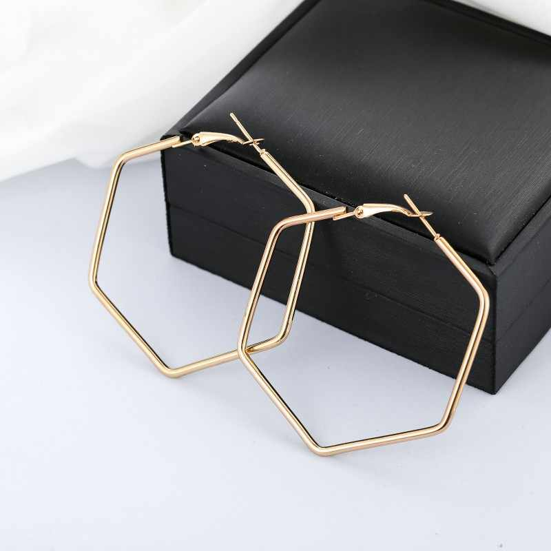 YANG&RH Punk Fashion Jewelry Smooth Hexagon Big Hoop Earrings For Women Lady Large Geometric Hollow Statement Loop Earring Gifts