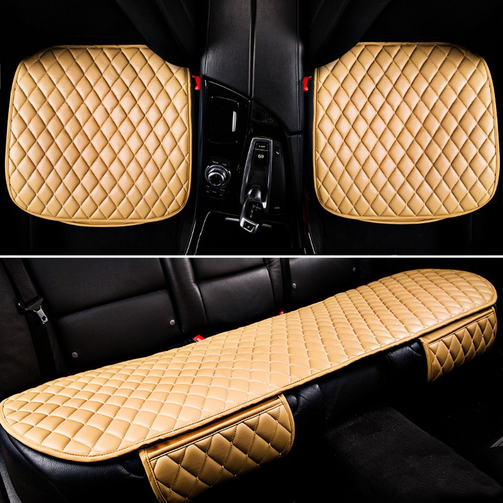 Car Seat Cushion Three-piece Vehicle Mat  Four seasons general car single seat  car seat covers, vehicle car accessories auto car seat cover back protector for children kick mat mud clean bk