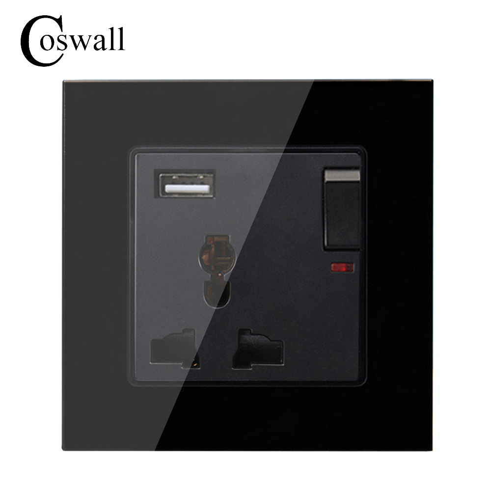 все цены на Coswall Black Crystal Glass Panel 3 Hole Universal Socket Switched With Neon + USB Charge Port For Mobile Output 5V 2.1A