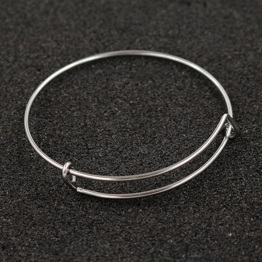 Fnixar 1 6mm Wire Stainless Steel Expandable Bracelet Base Adjustable Blank Bangle DIY Charm Bracelets Bangles
