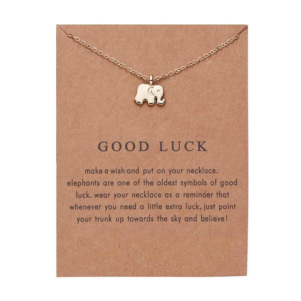 Rinhoo الفيل قلادة مع بطاقة سبائك مفتاح ستار إنفينيتي الحب الحصان قطرة الذهب-اللون السراويل الترقوة سلاسل الأزياء القلائد
