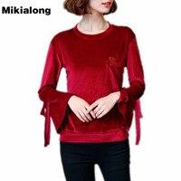 Mikialong Velvet Women T Shirt 2017 Autumn Vintage Flare Long Sleeve Tshirt Female Pocket Letter Embroidery