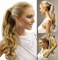 "26"" Wavy Tail Hair Braid Wrap Ponytails Extension Clip in Ponytail Hairpiece Roll Tied Wig High Fluffy Extension Queue De Cheval"