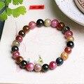 JoursNeige Natural Turmalina Pulsera de Piedra de 7mm Perlas Pulseras Multi Color Jade Pulsera para Hombres Mujeres Accesorios de La Joyería