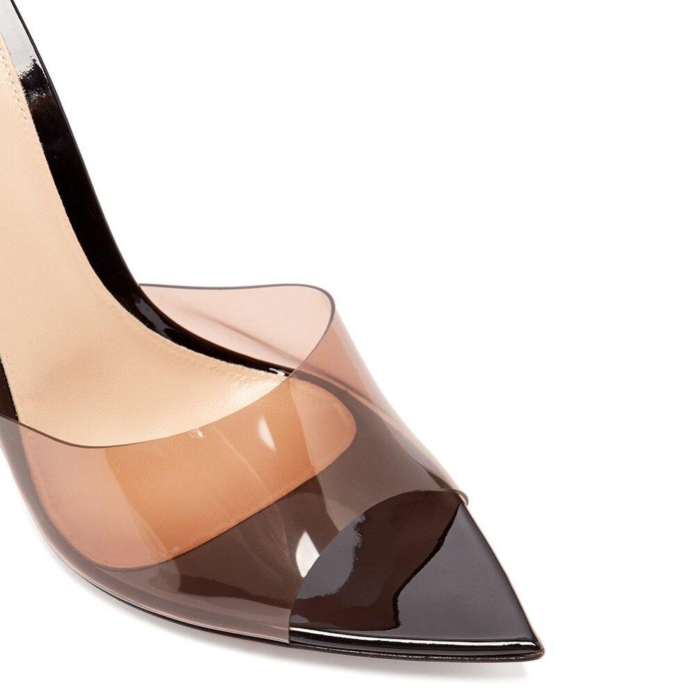 Moda sexy senhoras de salto alto apontou dedo do pé aberto deslizamento na festa stiletto salto alto claro mula slides mulher nu pvc sapatos transparentes - 4