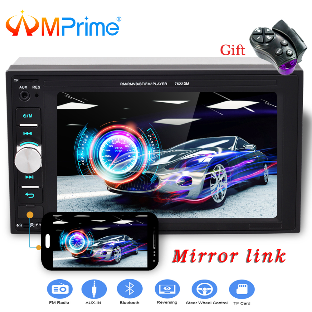 AMPrime 2 din 6.2 Car radio Bluetooth Touch screen AUX IN USB TF MP5 MP4 Android phone with Rear camera Auto stereo Mirror Link