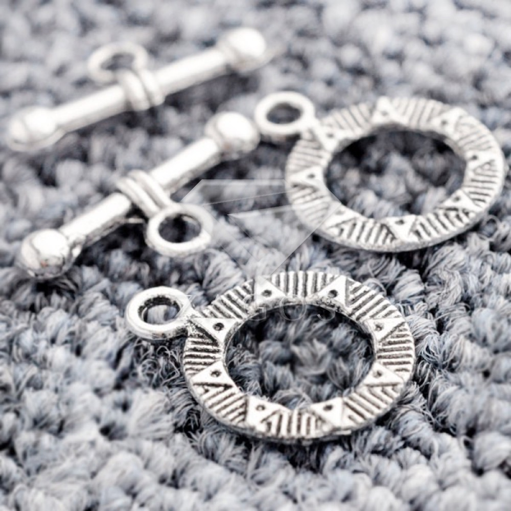 70Pcs Tibetan/Antique Silver Tone Flat Round Bar Ring Toggle Zinc Alloy Jewellry Making Findings Fit Bracelet Necklace TS1179