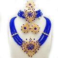 Nueva Boda Joyería Africana Fija para las mujeres de joyería de moda 2017 oro plateado Beads Nigerianos Sistema de La Joyería Collar pendientes anillo