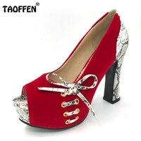 Taoffen mujer tacón alto Zapatos mujer punta seis color señora sexy boda Bombas calzado Tacones Zapatos tamaño 33 -43 p19243