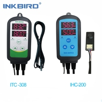 Inkbird Combo Set Pre wired Digital Dural Stage Humidity Controller IHC200 and Heating Cooling Temperature Controller ITC 308