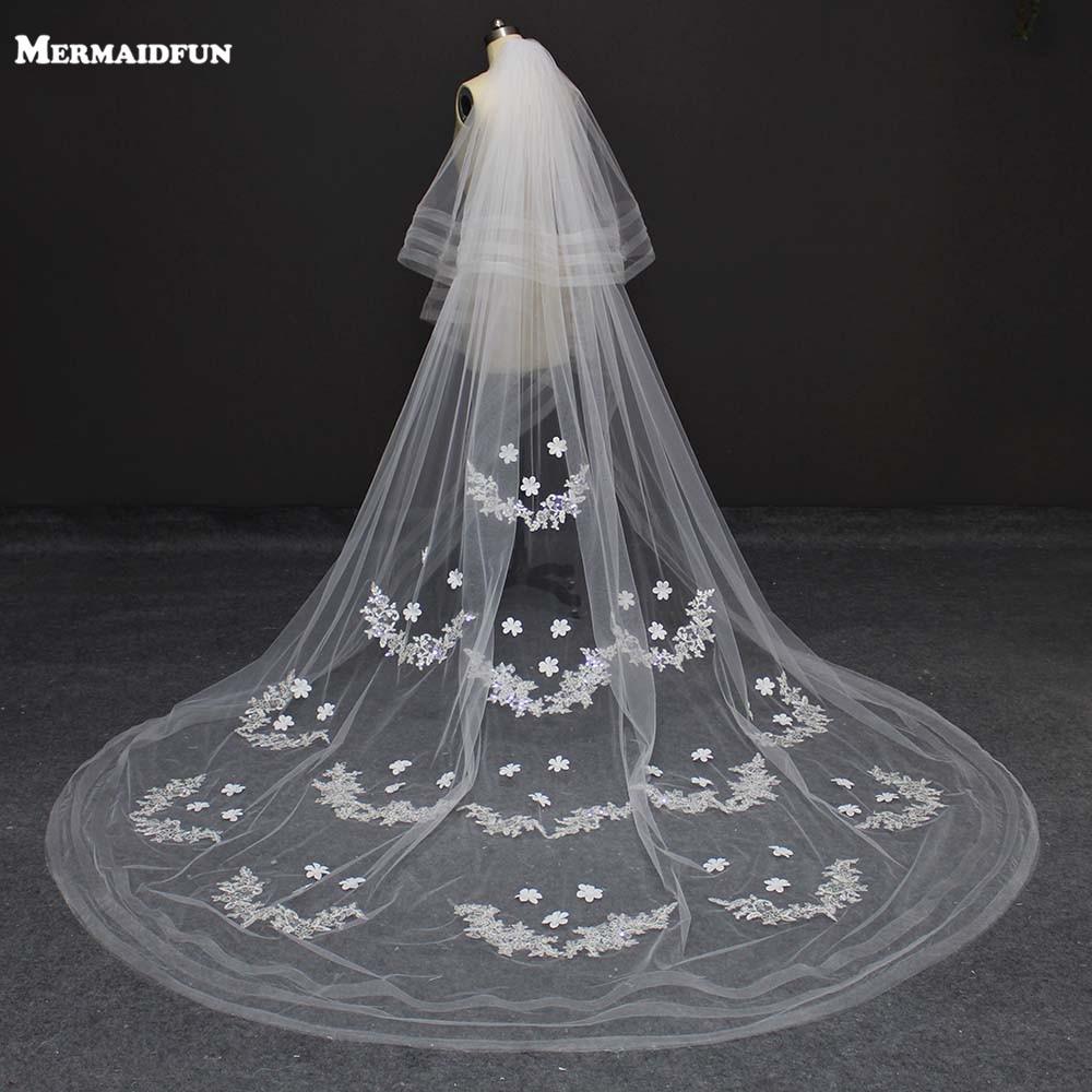 New 2 Layers Lace Appliques 3 Meters Wedding Veil Voile Mariage Ivory/white Wedding Veil For Bridal Dress Velos De Novia