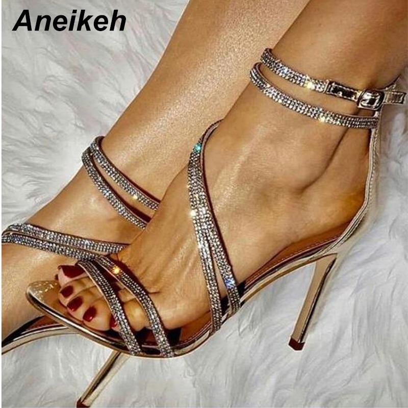 Aneikeh Gold Bling Crystal Sexy Women Sandals Open Toe Rhinestone Straps Cross High Heel Sandals Wedding Dress Shoes Size 35-40