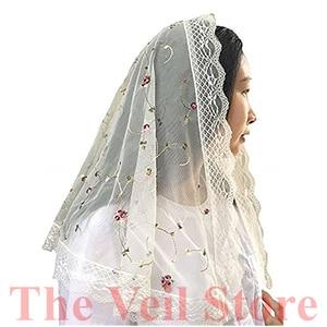 Image 4 - New Ivory Lace Women Catholic Veil Mantilla for Church Head Covering Latin Mass Embroidery Floral Tulle Mantilla de Novia Negra