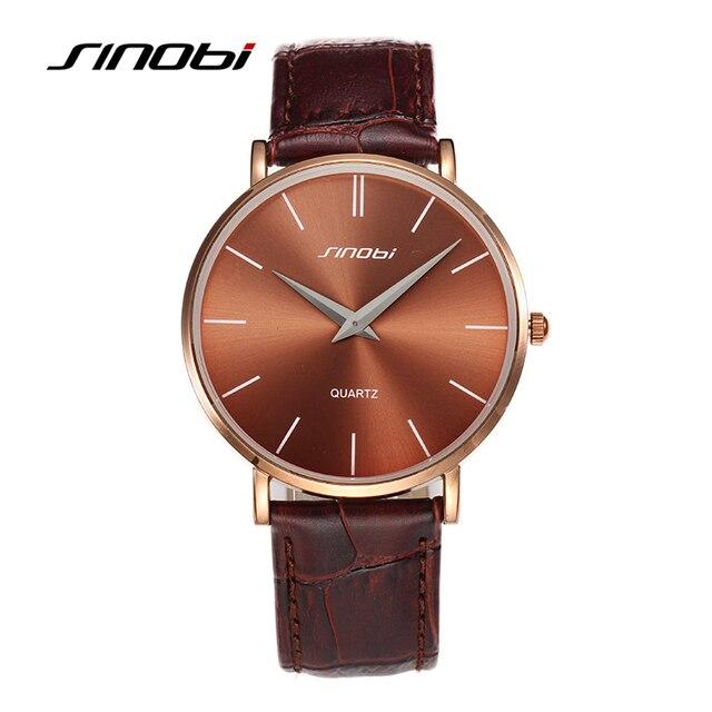 SINOBI Супер Тонкий Кварцевые Наручные Часы Мужчины Бизнес Натуральная Кожа Повседневная Кварцевые Часы Водонепроницаемые мужская 2016 Часы Relojes