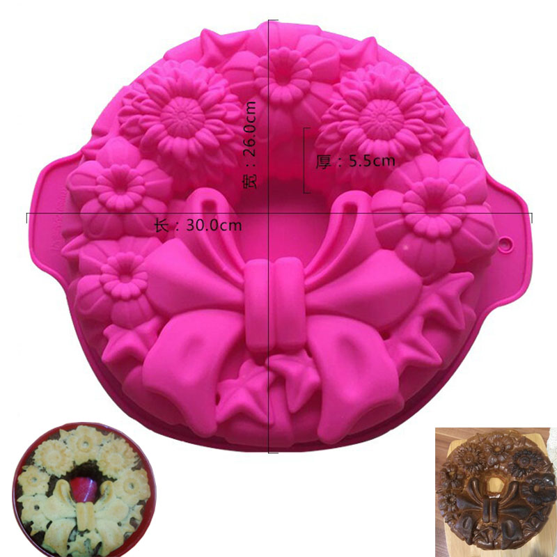 Large size 1 Hole Bowknot Flower Silicone Cake Mold Xmas Cake Mould Silicone Bakeware Baking Tools Kitchen Accessories