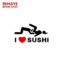 12*6cm Funny Car Sticker I Love Sushi Vinyl Sticker Sign Motorcycle Car Styling 3D Stickers Window Truck Door Bump Decal car styling 3d car stickers funny auto ball hits car body window sticker self adhesive baseball tennis decal accessories