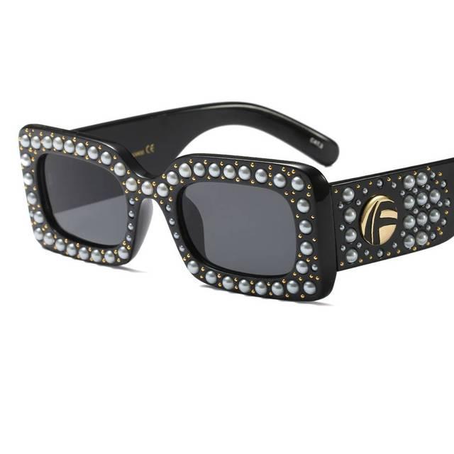 eaf56eaf03 Brand Black Rectangular Rhinestone Sunglasses Women Square 2018 Leopard  Small Red Pearl Party Sun Glasses Female Ladies Uv400