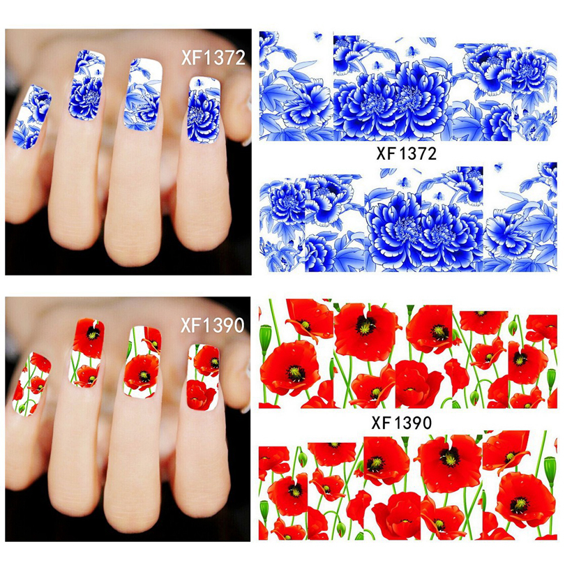 10 sheets /lot Charming Nail Stickers Full Wraps Flowers Water Transfer Nail Decals Decorations DIY Watermark Manicure Tools 1 sheet sexy red rose water transfer nail art stickers decals decorations diy watermark wraps manicure tools sastz 073