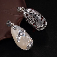 Sterling Silver 925 Pendant Lotus And Fish Natural Stones Viking Pendant Gifts For Women Crystal Pendant Pedras Naturais
