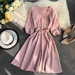 Neploe, весна-лето 2020, женское платье, одноцветное, v-образный вырез, рукав три четверти, Vestidos, шикарный пояс, высокая талия, длина до колена, хала...