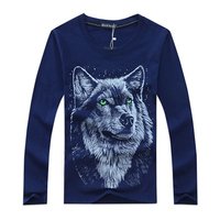 2015 New Men Full Sleeve Lenth 3D Wolf Style T Shirt Hot Sale 5xl