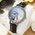Miss keke ladies 3d de dibujos animados de arcilla relojes de las mujeres reloj de cuarzo reloj de cuero negro diamond dress reloj 1011 relogio feminino