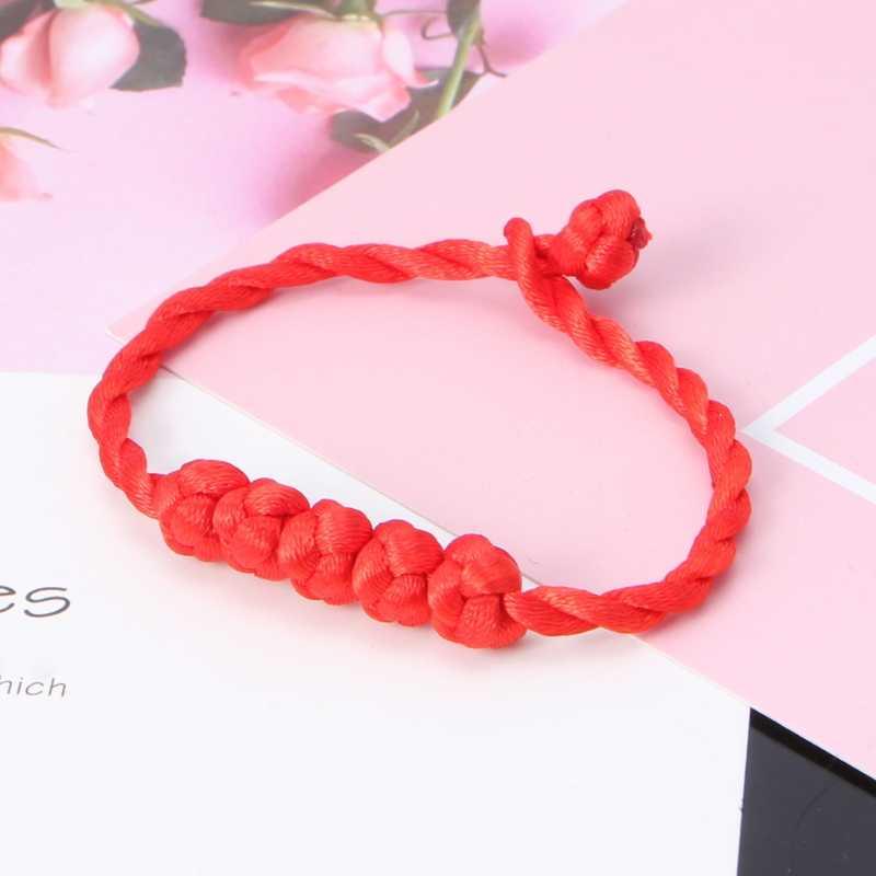 Pulsera de cuerda Roja China Feng Shui Lucky 5 cuentas anudadas encanto amistad pulseras y brazaletes mujeres boda fiesta joyería regalo