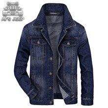 Merek Pria Jeans Jaket AFS JEEP Musim Semi dan Musim Gugur Slim Fit Eropa  Amerika Turn-down Kerah Pakaian Kasual Klasik Coats 96021c4b3f