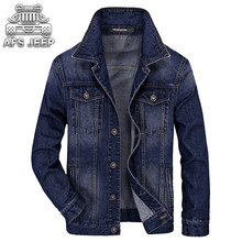 Brand AFS JEEP Men Jeans Jackets Spring and Autumn Slim Fit European American Turn-down Collar Casual Clothing Classic Coats