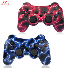 Best Seling 2 Pack Wireless 6-axis Double Shock Gaming Controller for Sony Playstation 3Charging Cord Blue and Red color pack