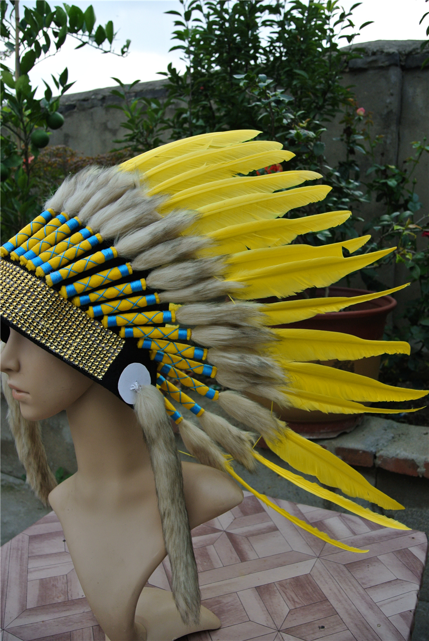 Yellow Indian Feather headdress handmade feather costumes indian war ...