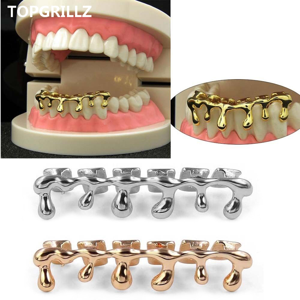 TOPGRILLZ Custom Fit Light Yellow Gold Color Rose Plated Hip Hop Teeth Drip Grillz Caps Lower Bottom Grill Silver Grills