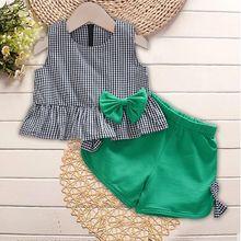 Модная летняя одежда для девочек г. Комплект детской одежды, хлопковые клетчатые топы без рукавов+ шорты, комплект из 2 предметов для девочек, детская повседневная одежда
