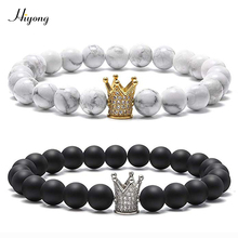 HIYONG 8mm Black Matte White Howlite Couples Bracelets CZ Crown King Queen Natural Stone Bead Charm Distance Bracelet