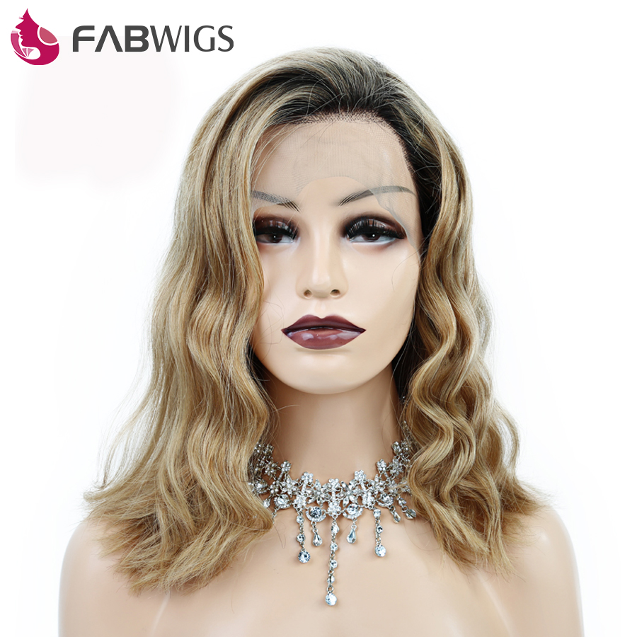 Fabwigs 250 Density Bob Wig Lace Front Wigs with Baby Hair Pre Plucked 1b 27 Short