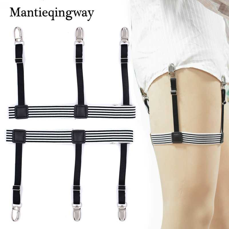 Mantieqingway Mens Shirt Stays Garters Elastic Nylon Adjustable Shirt Holders for Male Striped Suspenders Straps Anti-skid Belt