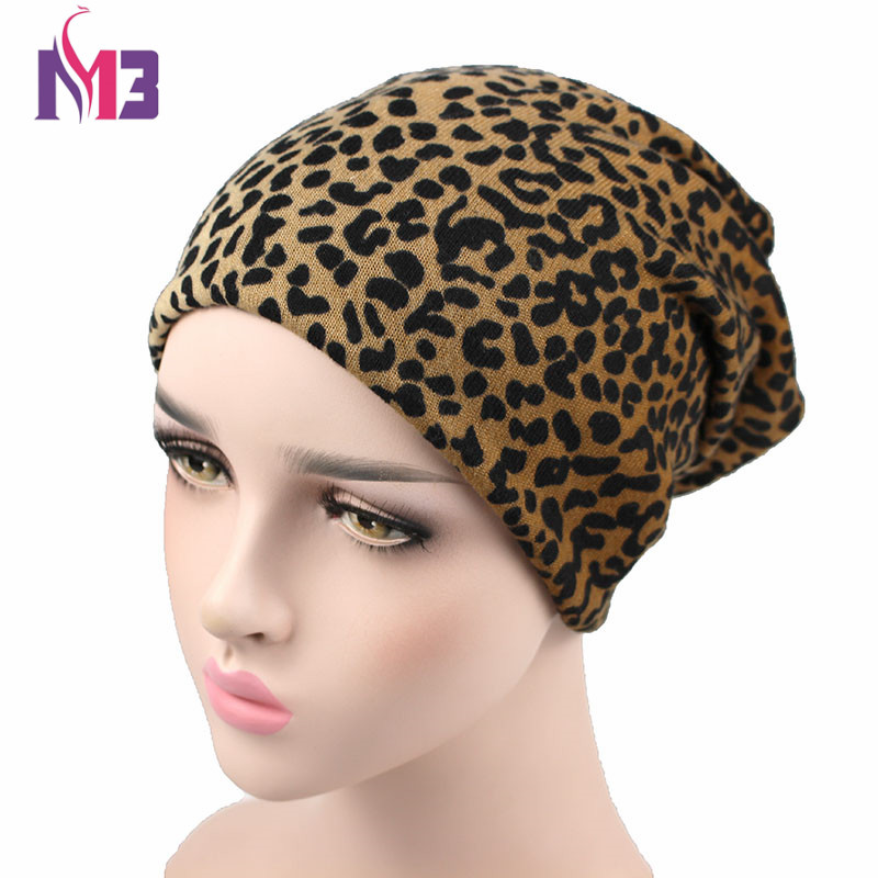 Winter Women Skullies Beanie Hat Knitted Polyester Skullies Neck Warmer Two Used Casual Women's Hat Leopard Ski Gorros Cap skullies